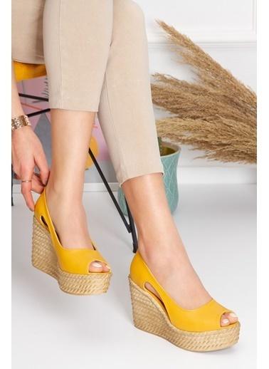 Derithy Older Dolgu Topuklu Ayakkabı-Hardal-Lzt0536 Hardal